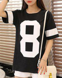 Casual Round Neck Number Print  Women's Oversized T-Shirt -