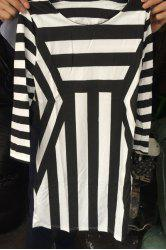 Stunning Round Neck 3/4 Sleeves Striped Dress For Women -