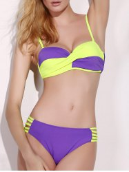 Stylish Spaghetti Strap Push Up Twist Color Block Underwire Bikini Set For Women