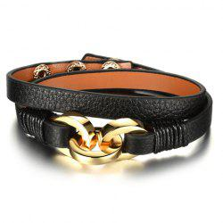 Vintage Faux Leather Multilayered Bracelet For Women - BLACK