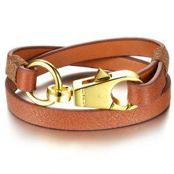 Vintage Faux Leather Key Chain Shape Bracelet For Women - BROWN