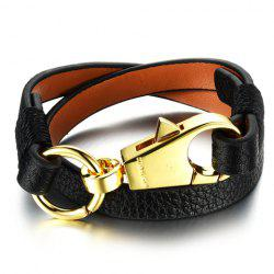 Vintage Faux Leather Key Chain Shape Bracelet For Women -