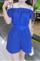 Trendy Strappy Solid Color Belted Romper For Women -