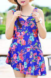 V-Neck Sleeveless Floral Print Sun Swimsuit Dress