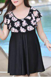 Stylish Scoop Neck Dolman Sleeves Chiffon Splice Women's Swimsuit