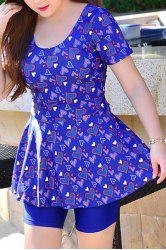 Comfortable U-Neck Short Sleeves Heart Print Women's Swimsuit