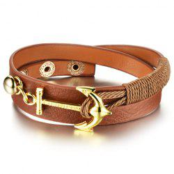 Vintage Faux Leather Anchor Bracelet For Women - BROWN