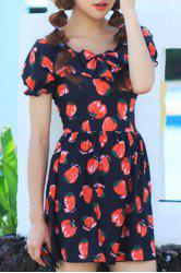 Strawberry Printed One-Piece Dress Swimwear For Women -