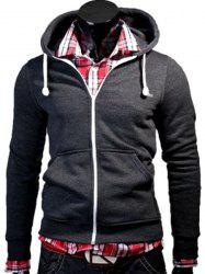 Color Block Zipper Fly Front Pocket Hooded Long Sleeves Hoodie For Men - DEEP GRAY