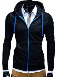 Color Block Zipper Fly Front Pocket Hooded Long Sleeves Black Hoodie Mens - BLACK