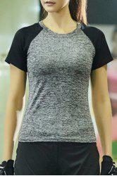 Marled Baseball Sport Workout Gym Running T-Shirt - SMOKY GRAY