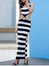 Maxi Stripe Cut Out Night Out Dress