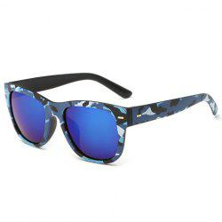 Stylish Short Stripe Shape Alloy Inlay Camouflage Pattern Sunglasses For Men -