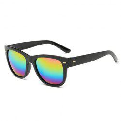 Stylish Short Stripe Shape Alloy Inlay Rainbow Color Lenses Black Sunglasses For Men - BLACK