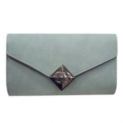 Vintage Solid Color and Cover Design Clutch Bag For Women - LIGHT BLUE