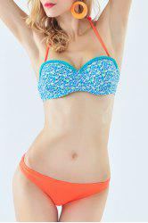 Fresh Style Halter Neck Tiny Floral Print Braided Underwire Bikini Set For Women