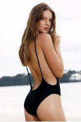 Monokini High Cut Backless One Piece Swimwear - BLACK