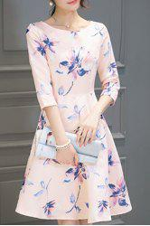 Round Neck Floral Print Holiday Dress - SHALLOW PINK