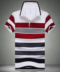 Color Block Spliced Design Stripe Turn-Down Collar Short Sleeve Polo T-Shirt For Men