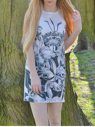 Novelty Round Neck Gray Floral Printed Sleeveless Dress For Women - WHITE