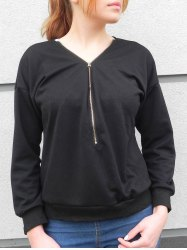 Stylish V-Neck Long Sleeve Zippered Loose-Fitting Women's Sweatshirt - BLACK