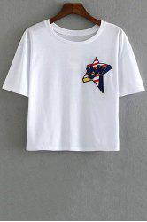 Stylish Round Neck Short Sleeve Star Embroidery Women's T-Shirt - WHITE L
