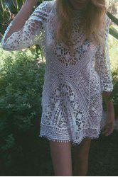 Sexy Round Neck 3/4 Sleeve Hollow Out Women's Crochet Cover-Up -