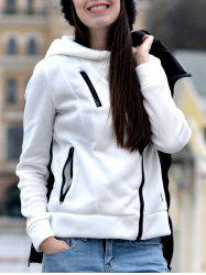 Stylish Hooded Long Sleeve Zippered Slimming Women's Hoodie