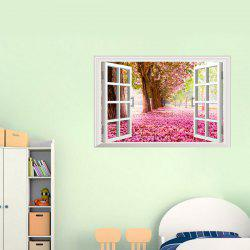 Sakura Trees Landscape  3D Window Wall Sticker For Livingroom Bedroom Decoration