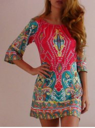 Bohemian Off The Shoulder African Style Print Dress - COLORMIX