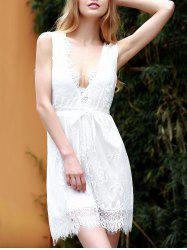 Lace Plunging Neck Sleeveless Club Dress - WHITE