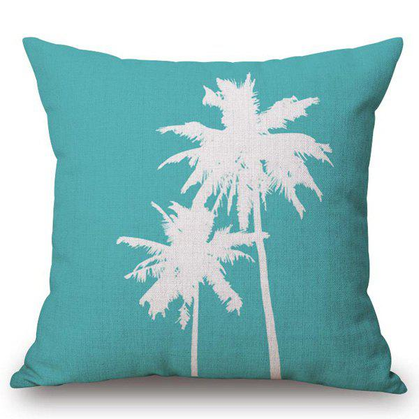 Affordable Chic Coconut Palm Pattern Square Shape Flax Pillowcase (Without Pillow Inner)