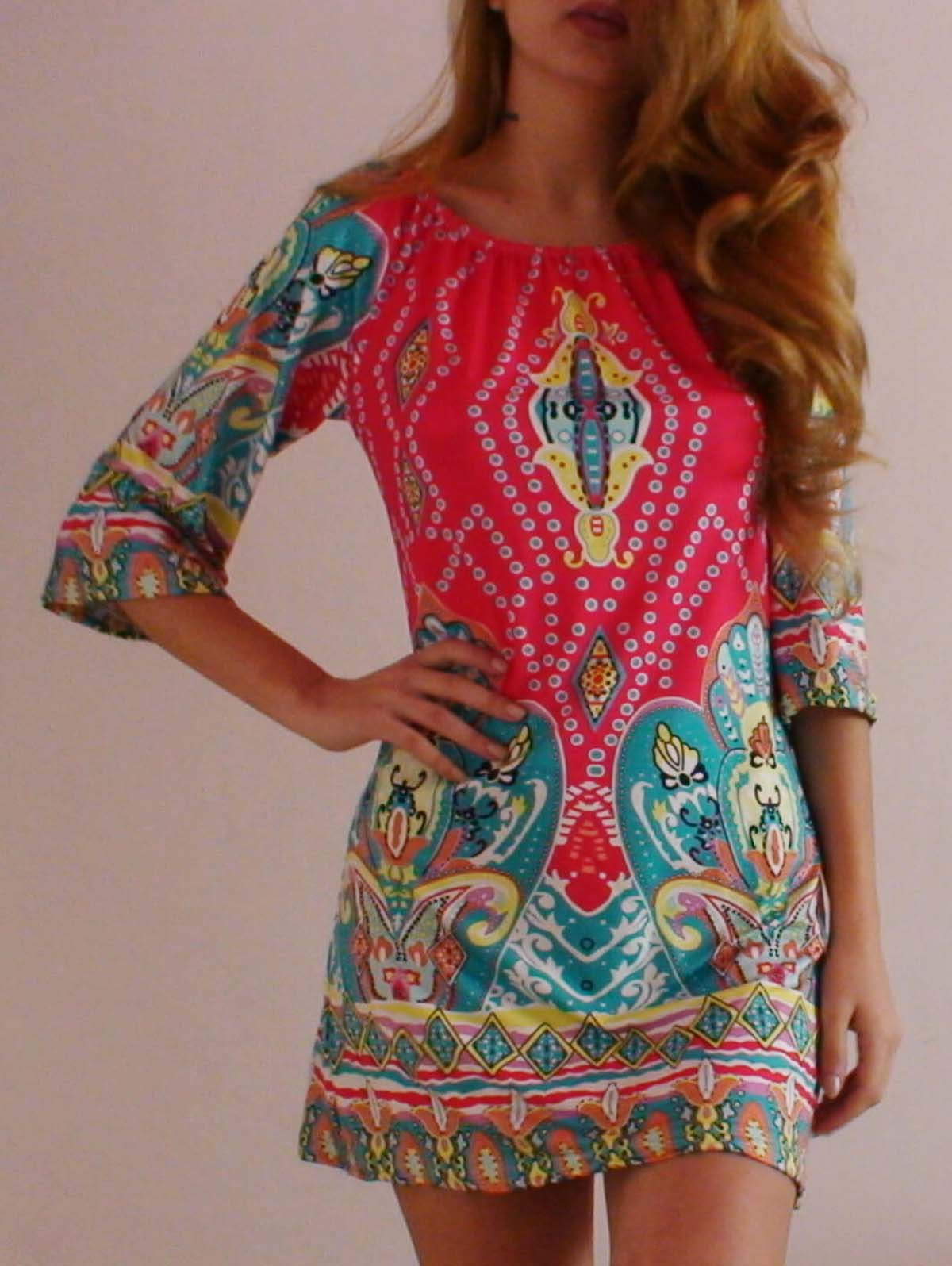 985aba91a9f9 2018 Bohemian OFF The Shoulder African Style Print Dress In Colormix ...