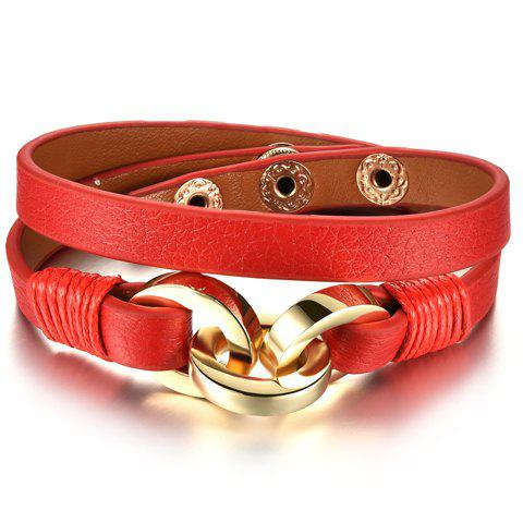 Cheap Vintage Faux Leather Multilayered Bracelet For Women