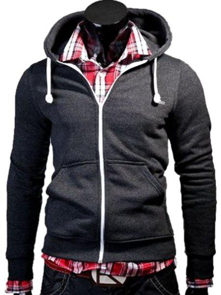 Color Block Zipper Fly Front Pocket Hooded Long Sleeves Hoodie For MenMEN<br><br>Size: M; Color: DEEP GRAY; Material: Cotton Blends; Shirt Length: Regular; Sleeve Length: Full; Style: Casual; Weight: 0.299kg; Package Contents: 1 x Hoodie;