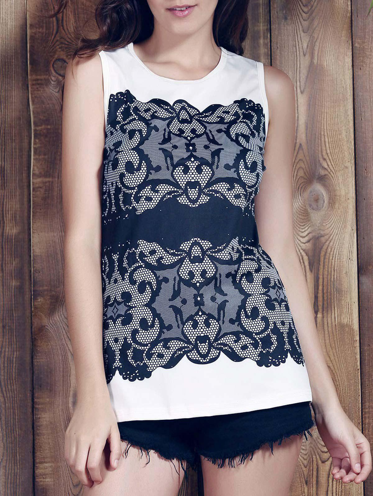 Best Lace Print Graphic Tank Top