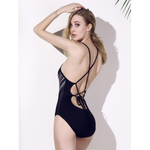 Backless Chic Print Cut Out One Piece Swimwear For Women -