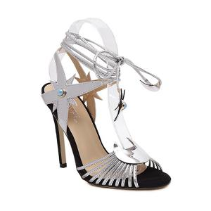 Trendy Lace-Up and Stiletto Heel Design Sandals For Women - Silver - 40