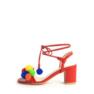 Trendy Colorful Pompon and Chunky Heel Design Sandals For Women - RED 39