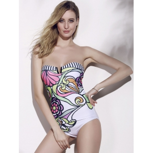Printed One Piece Strapless Monokini Swimsuit - AS THE PICTURE L