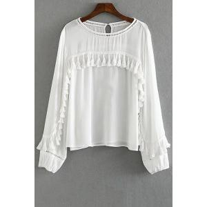 Trendy Round Collar Long Sleeve Tassels Spliced Blouse For Women