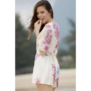 Stylish Plunging Neck Short Sleeve Floral Women's Romper -
