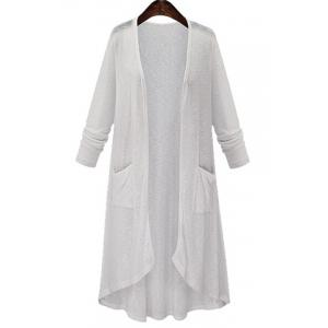 High Low Long Sleeve Long Open Front Cardigan