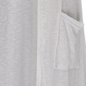 High Low Long Sleeve Long Open Front Cardigan - WHITE 2XL