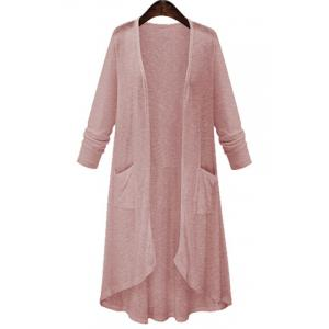High Low Long Sleeve Long Open Front Cardigan - Pink - Xl