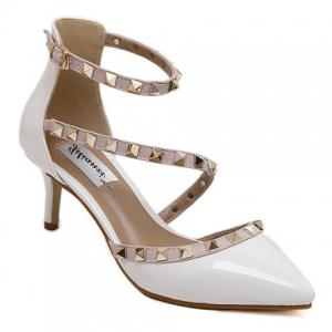 Fashionable Rivets and Patent Leather Design Pumps For Women - White - 36