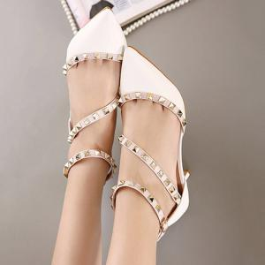 Fashionable Rivets and Patent Leather Design Pumps For Women - WHITE 36