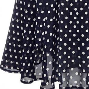 Polka Dot Chiffon A Line Sleeveless Dress -