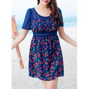 Chic Cherry Printed One-Piece Dress Swimwear For Women