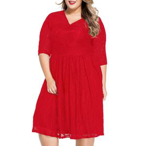Sweet V-Neck 3/4 Sleeves Lace Flared Women's Dress - Red - 3xl